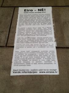 Anti-Euro Poster in Riga